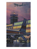Airport at Dusk Giclee Print