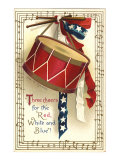 Drum, Red, White, Blue Giclee Print