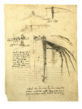 Flying Machine Part Giclee Print by  Leonardo da Vinci