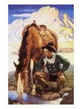 Cowboy Watering His Horse, 1937 Giclee Print by Newell Convers Wyeth