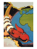 Sci Fi - Red Rocket Ship with Earth, 1946 Giclee Print