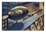 Sci Fi - Futuristic City Scene, 1932 Giclee Print by Leo Morey