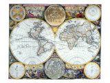 Double Hemisphere Map 1673 Giclee Print by John Seller