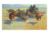 Downing the Nigh Leader, 1907 Giclee Print by Frederic Sackrider Remington