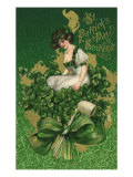 Woman on Clover Bouquet Giclee Print