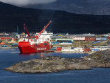 Container Ship Unloading at Nanortalik Port, Island of Qoornoq, Kitaa, Southern Greenland Photographic Print by Richard Cummins