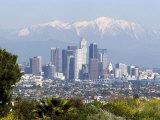 View of Downtown Los Angeles Looking Towards San Bernardino Mountains, California, USA Reproduction photographique par Ethel Davies