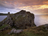 Dunscaith Castle Ruins at Sunset, West Coast of Sleat Peninsula, Isle of Skye, Scotland Photographic Print by Patrick Dieudonne