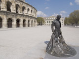 Roman Arena with Bullfighter Statue, Nimes, Languedoc, France, Europe Photographic Print by Ethel Davies