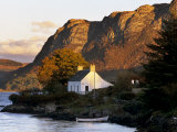Cottage and Hills at Sunset, Plockton, Highland Region, Scotland, United Kingdom, Europe Photographic Print by Patrick Dieudonne