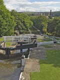 Five Lock Ladder on the Liverpool Leeds Canal, Including a Mill, at Bingley, Yorkshire, England, UK Photographic Print by James Emmerson