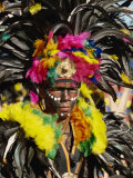 Man with Facial Decoration and Head-Dress with Feathers at Mardi Gras Carnival, Philippines Photographic Print by Alain Evrard