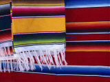 Striped Woven Rugs in Vibrant Primary Colours for Sale in Mexico, North America Photographic Print by Michelle Garrett