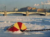 Buoy Frozen into Ice on the Bol'shaya Nevka River, Near the Svobody Bridge, St. Petersburg, Russia Photographic Print by Robert Francis