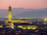 Palazzo Vecchio, Illuminated at Dusk from the Piazzale Michelangelo, Florence, Tuscany, Italy Photographic Print by Robert Francis