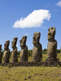 Ahu Tongariki, Tongariki Is a Row of 15 Giant Stone Moai Statues, Rapa Nui, Chile Photographic Print by Gavin Hellier