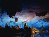 Guilin Cave, Floodlit Stalactites and Stalagmites, China Photographic Print by Dominic Harcourt-webster