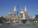 Fountain in Front of the Christian Cathedral in Guadalajara, Jalisco, Mexico, North America Photographic Print by Michelle Garrett