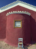 Blue Painted Chair Outside Traditional Painted Church, Spetse, Greek Islands, Greece, Europe Photographic Print by Lee Frost