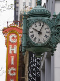 Marshall Field Building Clock and Chicago Theatre Behind, Chicago, Illinois, USA Photographic Print by Amanda Hall