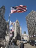 Wrigley Building on Left, Tribune Building Center, Chicago, Illinois, USA Photographic Print by Robert Harding