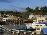 Boats in the Harbour and Waterfront, Bar Harbour, Maine, New England, USA Photographic Print by Amanda Hall