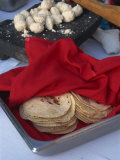 Close-Up of Tortillas in a Tray Covered by a Red Cloth, in Mexico, North America Photographic Print by Michelle Garrett