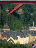 Houses and Trees Below Catherine Bridge in Luxembourg, Europe Photographic Print by Tim Hall
