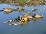 Fishing Rafts and Fishermen on Canoes in Cambodia, Indochina, Southeast Asia Photographic Print by Tim Hall