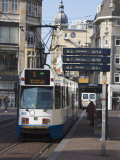 Modern Tram on Leidse Straat, Amsterdam, Netherlands, Europe Photographic Print by Amanda Hall