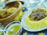 Traditional Food of Chicken Tagine, and Lamb with Cous Cous, Marrakech, Morocco Photographic Print by Lee Frost