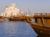 Dhow in Front of the Museum of Islamic Art, Doha, Qatar, Middle East Photographic Print by Gavin Hellier