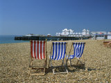 Empty Deck Chairs on the Beach and the Southsea Pier, Southsea, Hampshire, England, United Kingdom Photographic Print by Nigel Francis