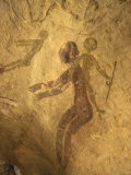 Rock Paintings of Decorated Woman and Children on Cave, Tassili N'Ajjer, Algeria Photographic Print by Ian Griffiths
