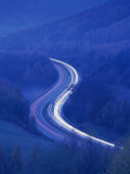 Light Trails on Rural Road at Twilight Through Woods in the Lake District, Cumbria, England, UK Photographic Print by Nigel Francis
