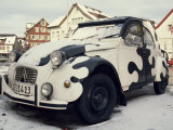 2CV Car Painted Crazy Cow, Covered in Snow Photographic Print by Dominic Harcourt-webster