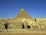 Great Sphinx and Cheops Pyramid, Giza, UNESCO World Heritage Site, Cairo, Egypt Photographic Print by Nigel Francis