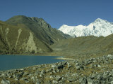 Longpanga Lake with Lateral Moraine on the Right in the Gokyo Valley in Khumbu Himal in Nepal Photographic Print by James Green
