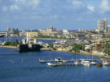 Jetties, Harbour and Skyline of the City of Cartagena in Colombia, Photographic Print