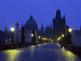 Charles Bridge at Night and City Skyline with Spires, Prague, Czech Republic Photographic Print by Nigel Francis