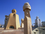 Roof and Chimneys of the Casa Mila, a Gaudi House, in Barcelona, Cataluna, Spain Photographic Print by Nigel Francis