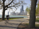 Cyclist by Lake Michigan Shore, Gold Coast District, Chicago, Illinois, USA Photographic Print by Amanda Hall