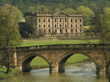 Bridge over the River and Chatsworth House, Derbyshire, England, United Kingdom, Europe Photographic Print by Christina Gascoigne