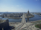 Aerial View over Large River Meander Through Moscow, Russia, Europe Photographic Print by Dominic Harcourt-webster