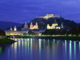 City and Castle at Night from the River, Salzburg, Austria, Europe Photographic Print by Nigel Francis