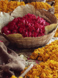 Close-Up of a Basket of Red Flowers, with Yellow Flowers, in the Market, Jaipur, Rajasthan, India Photographic Print by Michelle Garrett