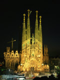 Sagrada Familia, the Gaudi Cathedral, Illuminated at Night in Barcelona, Cataluna, Spain Photographic Print by Nigel Francis