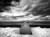 Infrared Image of Hut in Dunes Overlooking the North Sea, Bamburgh, Northumberland, England, UK Photographic Print by Lee Frost