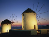 Floodlit Windmills at Night, Mykonos Town, Mykonos, Cyclades, Greek Islands, Greece, Europe Photographic Print by Lee Frost