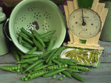 Fresh Garden Peas in an Old Colander with Old Salter Scales and Seed Packet Photographic Print by Michelle Garrett